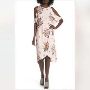 NWT Leith Cold Shoulder Midi Dress in Pink Floral
